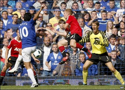 Everton score against Man Utd
