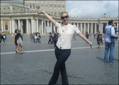Hayley arrives in St. Peter's Square in the Vatican City