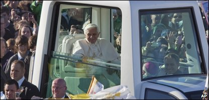 The Pope in his Popemobile in Edinburgh, Scotland