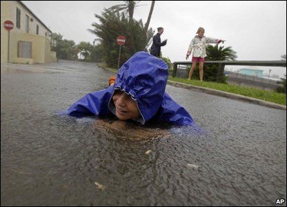 This boy is enjoying Hurricane Igor in Bermuda