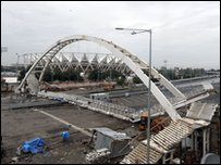 Collapsed footbridge near Jawaharlal Nehru Stadium in New Delhi, India