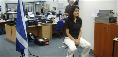Sonali does her first TV broadcast from the BBC office at the International Broadcast Centre