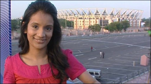 Sonali in Delhi, India, reporting on the Commonwealth Games