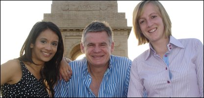 Sonali with BBC Scotland presenters John Beattie and Katie Still