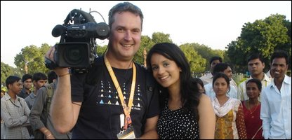 Sonali and cameraman Alan drew quite a crowd of spectators when they were filming