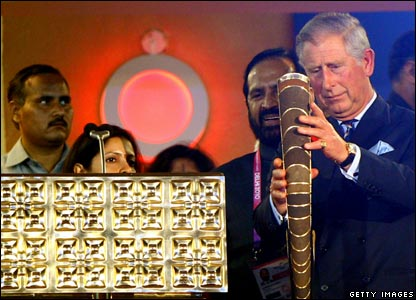 As the representative of the Queen, who is the head of the Commonwealth, Prince Charles puts in place the Queen's Baton and declares the Games officially open.