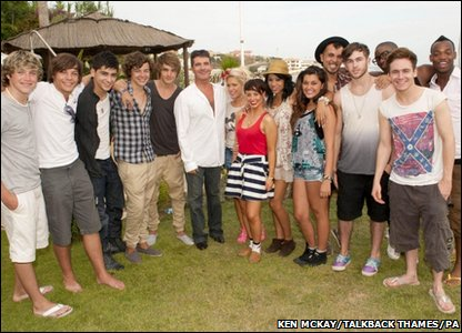 Simon Cowell with his X Factor finalists in the Groups category. L-R: 1 Direction, Simon Cowell, Belle Amie and F.Y.D.