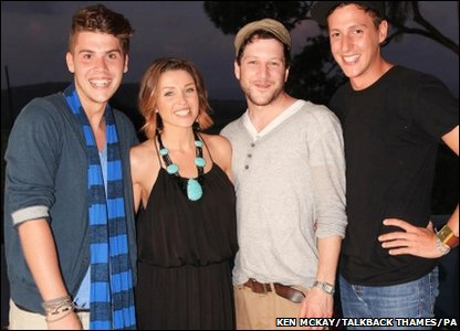 Dannii Minogue with her X Factor finalists in the Boys category. L-R: Aidan, Dannii Minogue , Matt and Nicolo,