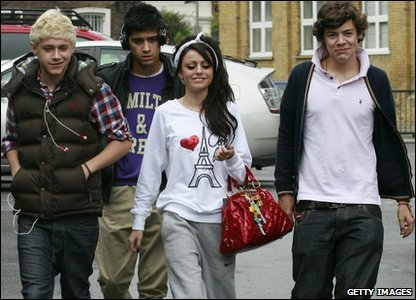 Some of the X Factor finalists. L-R: Harry Styles, Zain Malik, Cher Lloyd and Niall Horan