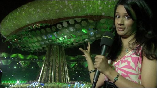 Sonali at the opening of the Commonwealth Games in Delhi, India