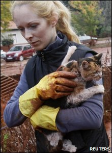 A resident rescues a cat from toxic sludge that flooded the village of Devecser in Hungary