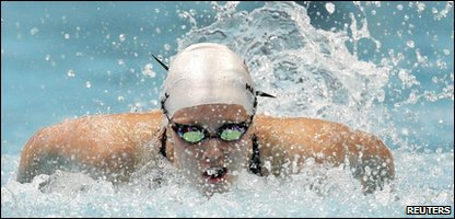 Fran Halsall in the 100m butterfly at the Commonwealth Games in Delhi