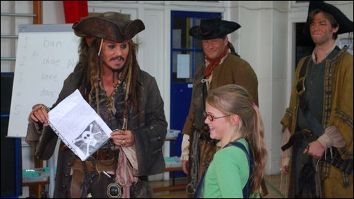 Johnny Depp as Captain Jack Sparrow at the school with Bea, who wrote asking the star to help with a mutiny. Picture by Darryl Green