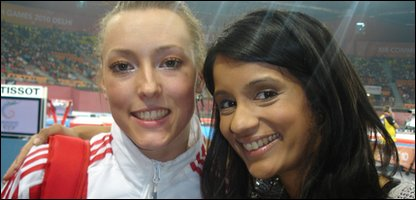 British gymnast Imogen Cairns and Sonali, at the Commonwealth Games in Delhi, India