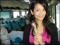 Sonali and her breakfast rose.