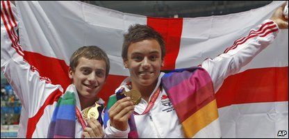 Diving duo Tom Daley and Max Brick win gold at the Commonwealth Games in Delhi.