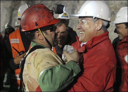 Each miner will get inside the rescue shaft one by one. Mario Sepulveda hugs President Sebastian Pinera after he became the second miner to be rescued.