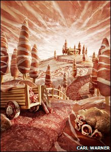 A view of the countryside made out of salami.