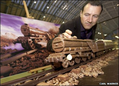 Amazing train made out of chocolate!