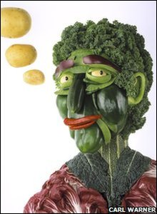 Head made out of vegetables.