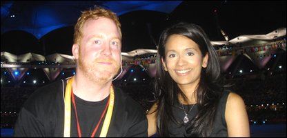 Sonali with floor manager Matt at the closing ceremony