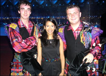 Sonali with pipers Jonathan and Craig