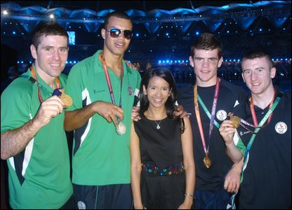 Sonali with boxers from Northern Ireland