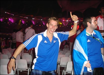 Scottish swimmer David Carry shows off his dancing