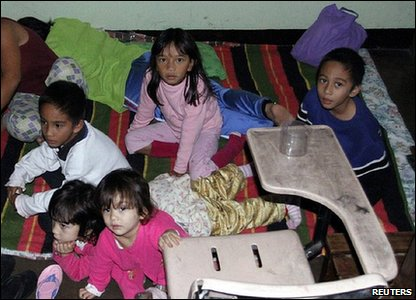 Children in a Typoon shelter