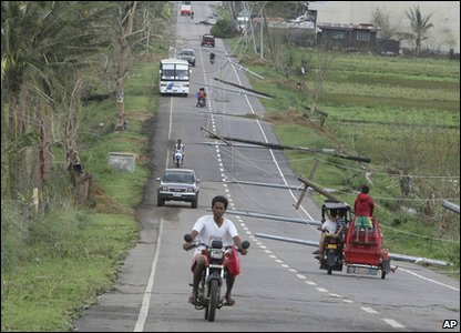 Electricity poles blown down by typhoon Megi