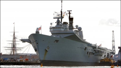 The Navy's aircraft carrier Ark Royal which is being scrapped