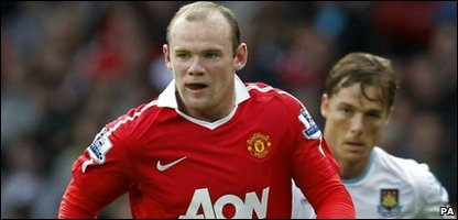 Manchester United striker Wayne Rooney in action during their English Premier League football match against West Ham United at Old Trafford