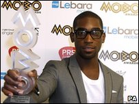 Tinie Tempah with one of the two MOBO awards he won