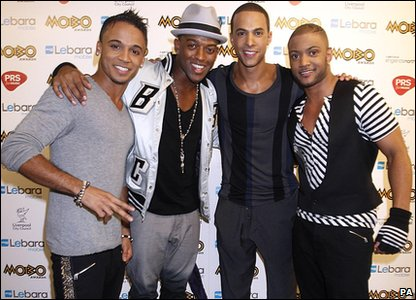 JLS pose for the cameras at the 2010 MOBO Awards.