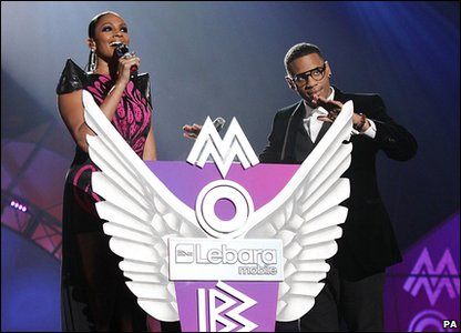 Alesha Dixon and Reggie Yates present the 2010 MOBO ceremony.