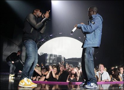 Tinie Tempah and Tinchy Stryder performs at the 2010 MOBO Awards.