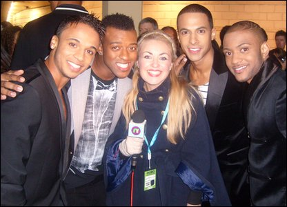 Hayley with JLS at the 2010 MOBO Awards.