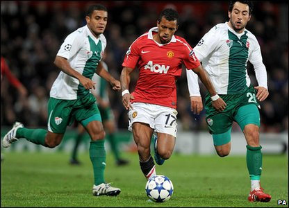 Nani was on top form and scored Man Utd's only goal of the night.
