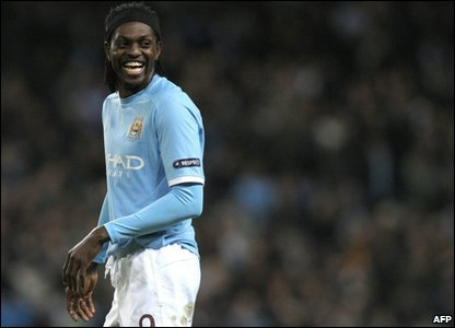 Manchester City forward Emmanuel Adebayor reacting during the Europa League match against Lech Poznan