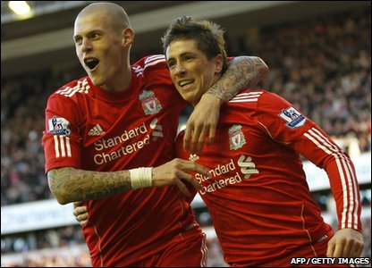 Liverpool's Fernando Torres (Right) celebrates scoring his goal against Blackburn Rovers with Liverpool's Martin Skrtel during a Premier League match at Anfield in Liverpool