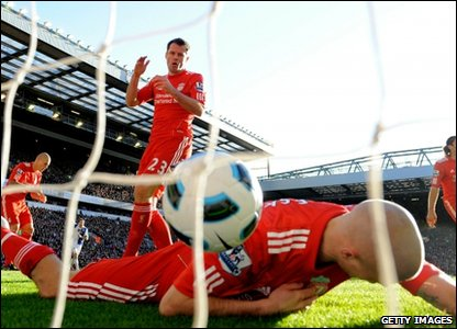 Jamie Carragher looks gutted after scoring an own goal during Liverpool's match against Blackburn, at Anfield