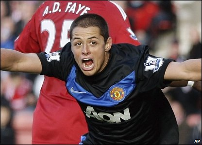 Manchester United's Javier Hernandez celebrates scoring his team's second goal during their Premier League match against Stoke City at the Britannia stadium