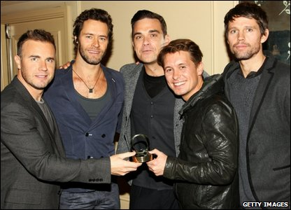 Take That with their Q Hall of Fame award at the Q Awards 2010 at Grosvenor House Hotel, in London