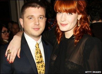 Florence Welch from Florence and the Machine with Plan B, aka at the Q Awards 2010 at Grosvenor House Hotel, in London
