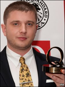 Plan B with his award for Breakthrough Artist at the Q Awards 2010, at Grosvenor House Hotel, in London