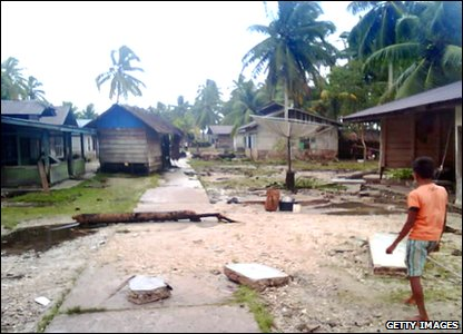 Indonesian tsunami - damaged village on North Pagai island