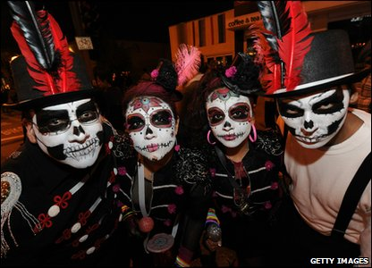 People dressed up for Halloween in West Hollywood