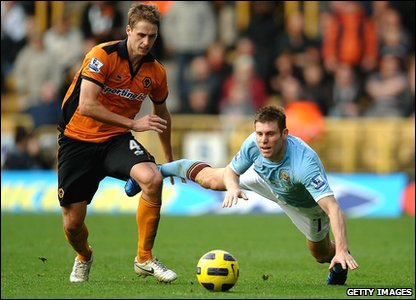 Wolverhampton v Man City - Wolves' David Edwards and Man City's James Milner