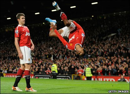 Man United v Tottenham - Nani celebrates his goal