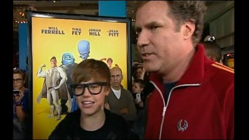 Justin Bieber and Will Ferrell at the US premiere of Megamind